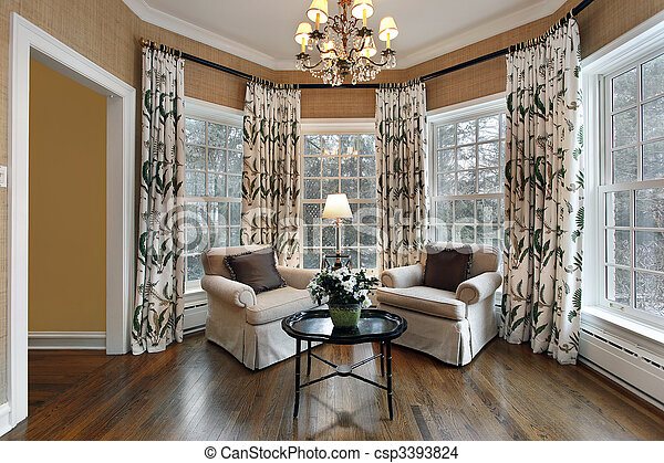 Den with wall of windows - csp3393824