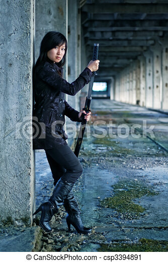 Dangerous asian girl - csp3394891