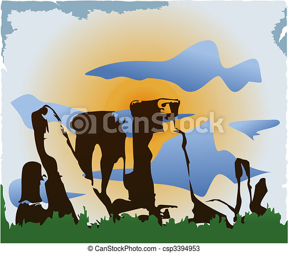 Background with ancient stone ruins, sky and sun. - csp3394953