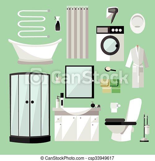 Vektor clipart von wohnung badezimmer elemente for Badezimmer clipart