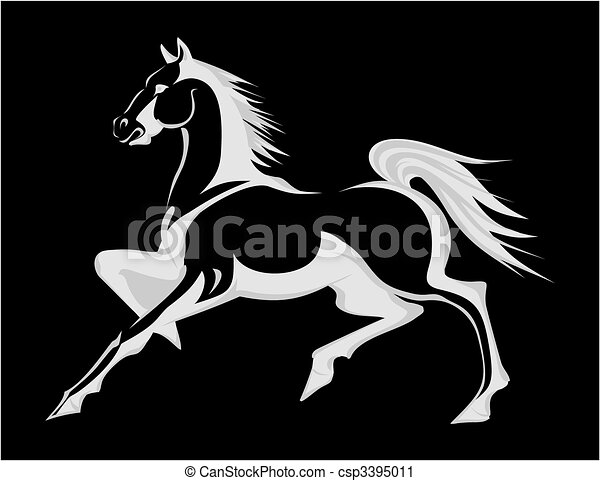 Silhouette of a running horse. A vector illustration - csp3395011