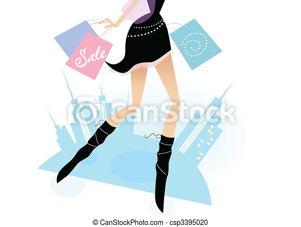 Long legs woman shopping in the city - csp3395020