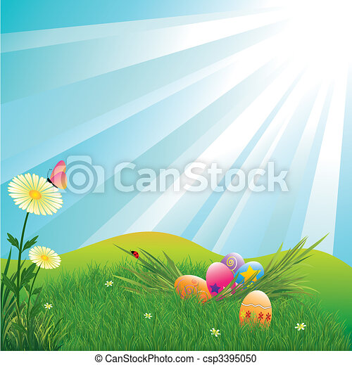 Easter holiday colorful easter eggs - csp3395050