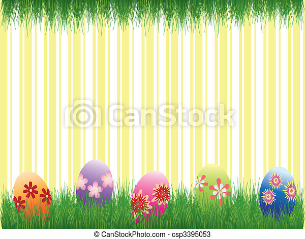 Easter holiday colorful easter eggs yellow stripe background - csp3395053