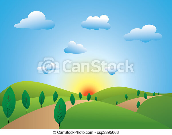Springtime landscape green fields trees with blue sky - csp3395068