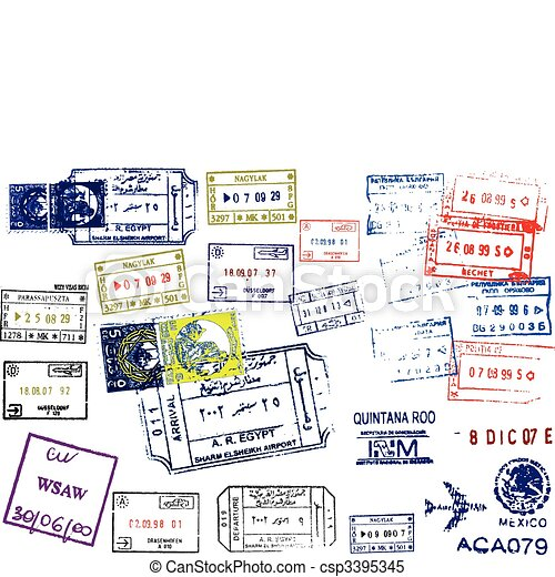 Passport Stamps - csp3395345