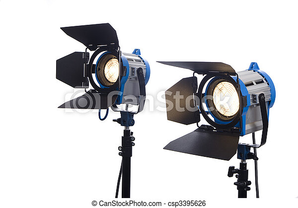 Lighting equipment two lamps lit, Isolated on white. - csp3395626