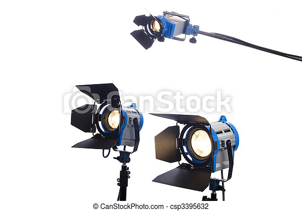 Lighting equipment three lamps lit, Isolated on white. - csp3395632