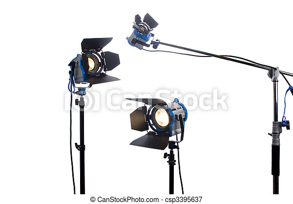 Lighting equipment three lamps lit, Isolated on white.  - csp3395637