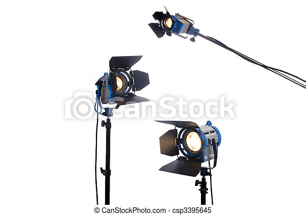 Lighting equipment three lamps lit, Isolated on white.  - csp3395645
