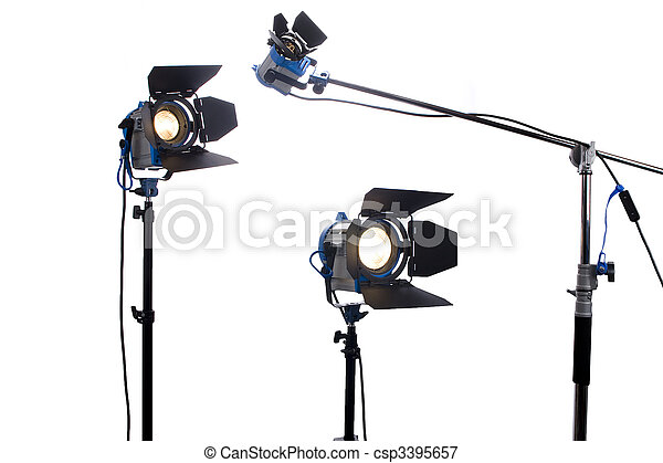 Lighting equipment three  lamps lit, Isolated on white. - csp3395657
