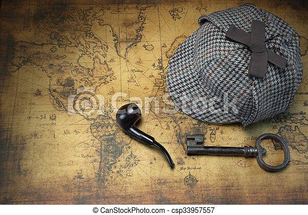 Deerstalker Sherlock Hat, Vintage Key, Smoking Pipe On Old Map. - csp33957557