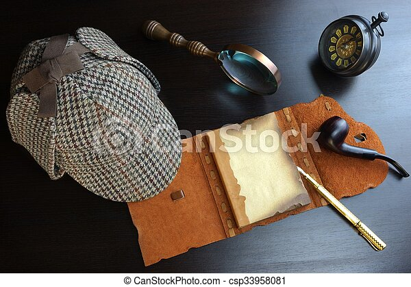 Sherlock Holmes Concept. Private Detective Tools On The Wood Table - csp33958081