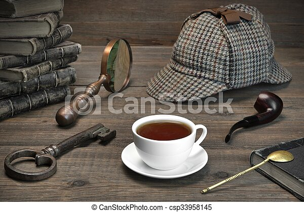 Sherlock Holmes Concept. Private Detective Tools On The Wood Table - csp33958145