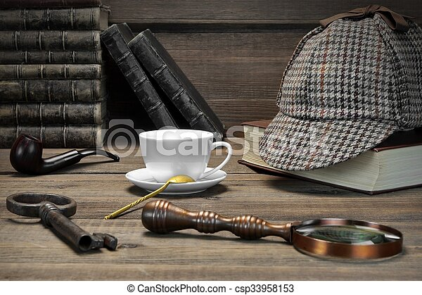 Sherlock Holmes Concept. Private Detective Tools On The Wood Table - csp33958153