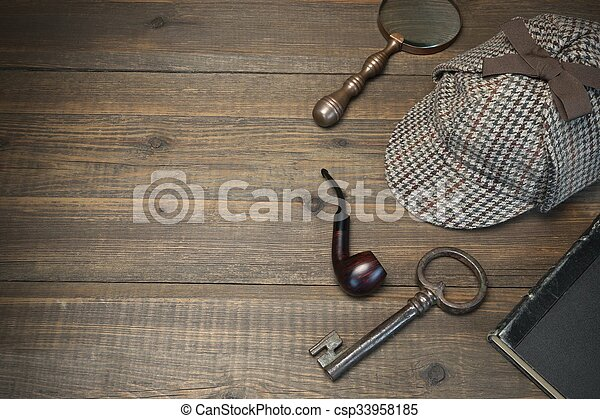 Sherlock Holmes Concept. Private Detective Tools On The Wood Table - csp33958185