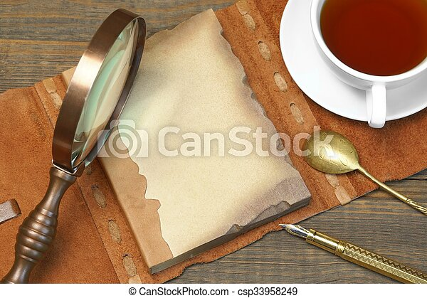 Sherlock Holmes Concept. Private Detective Tools On The Wood Table - csp33958249