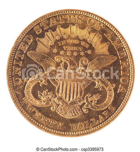 Reverse of Twenty Dollar Double Eagle Gold Coin Reverse on White Background - csp3395973