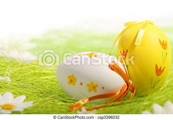Painted Colorful Easter Eggs - csp3396032