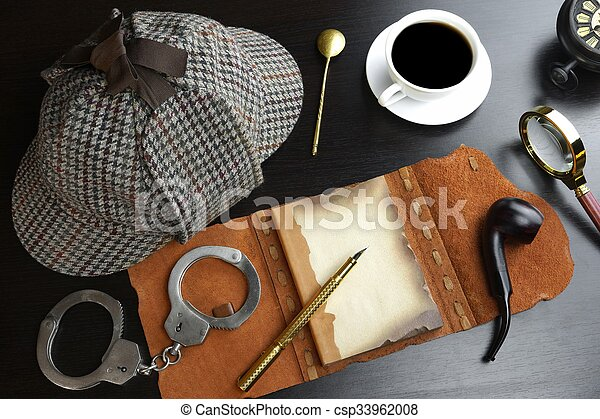 Sherlock Holmes Concept. Private Detective Tools On The Wood Table - csp33962008