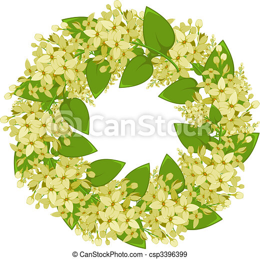 Vector wreath of twigs of lilac - csp3396399