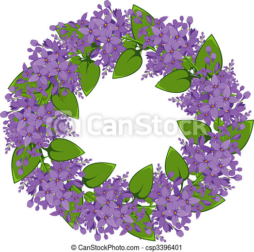 Vector wreath of twigs of lilac - csp3396401
