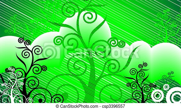 visual art in green colour background - csp3396557