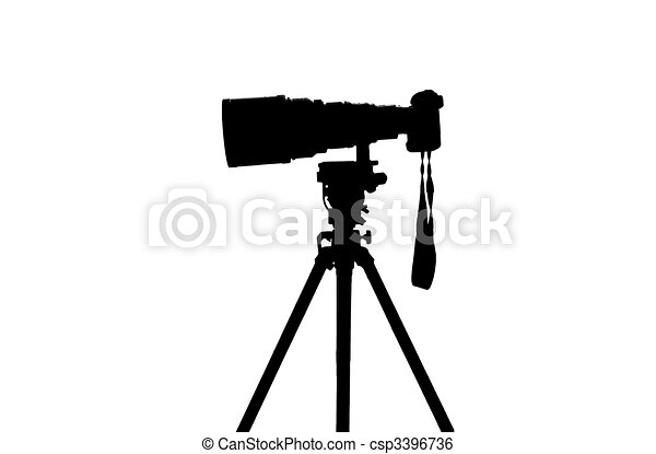 Professional sports photographer camera silhouette - csp3396736
