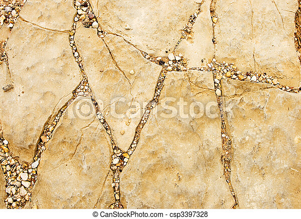 Natural stone texture with cracks and gravel - csp3397328