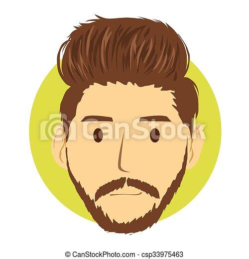 clip art vector of smart man hipster cartoon style