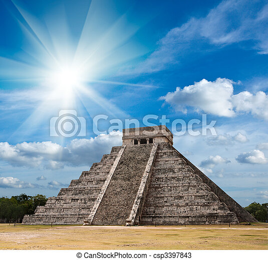 Mayan pyramid in Chichen-Itza, Mexico - csp3397843