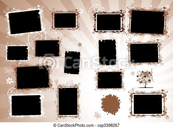 Photo album design page. Insert your photo into frames - csp3398267