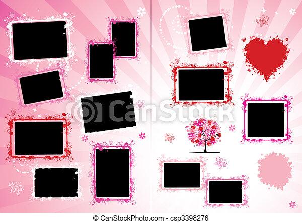 Photo album design page. Insert your photo into frames - csp3398276