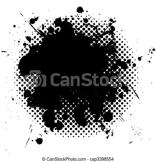 halftone grunge ink splat black - csp3398554