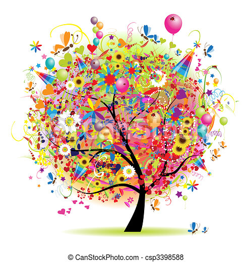vacanza, DIVERTENTE, Felice, albero, palloni - csp3398588