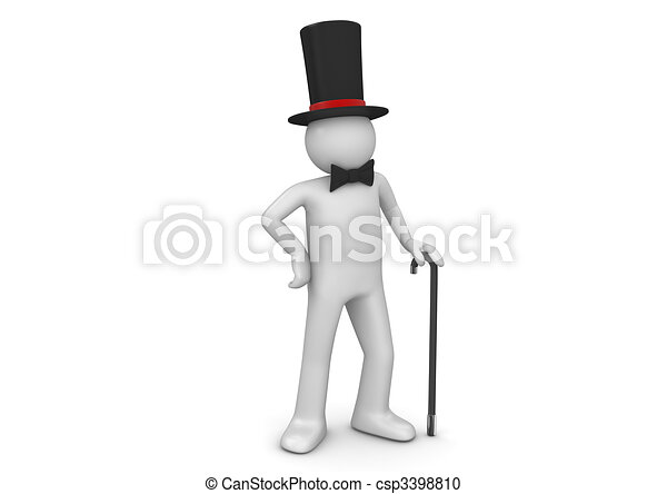 Gentleman / nobleman in top hat with walking stick - csp3398810