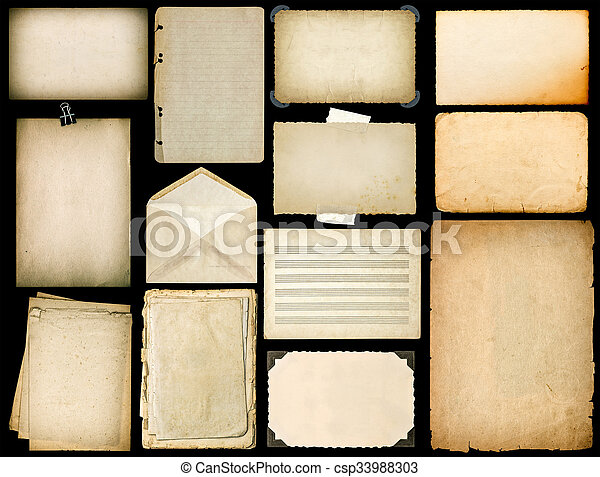 Old paper sheets with edges. Vintage book pages, cardboards, music notes, photo frame with corner, envelope isolated on black background