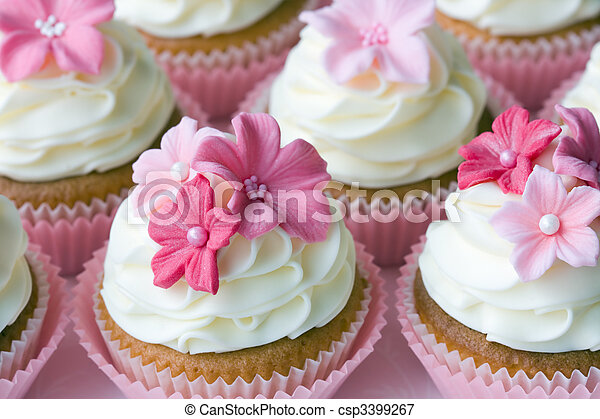 Picture of Wedding cupcakes decorated in different shades of pink