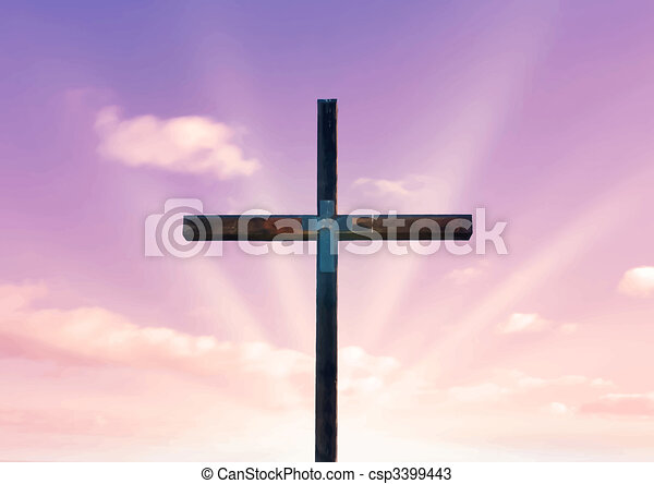 cross of christ and pink sky - csp3399443