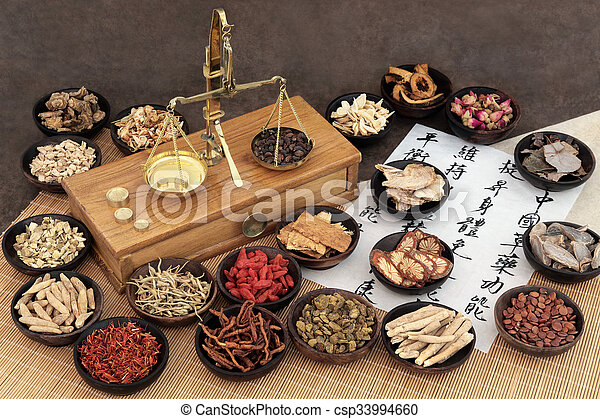 Chinese medicine ingredients with scales and calligraphy on rice paper. Translation read as chinese herbal medicine as increasing the bodys ability to maintain body and spirit health and balance energy.