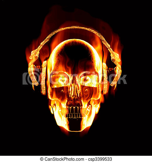 great image of flaming skull wearing headphones - csp3399533