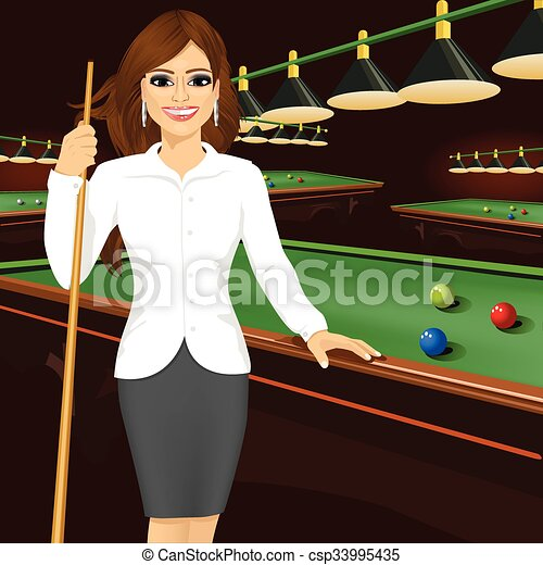 Vectors Of Beautiful Business Woman Holding Cue Stick