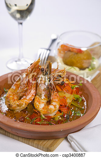 sizzling prawns with condiments and wine - csp3400887
