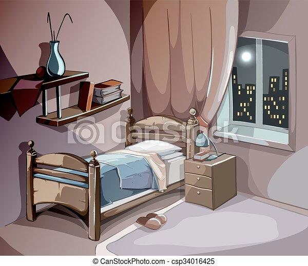 Illustration vecteur de concept chambre coucher dormir for Chambre style manga