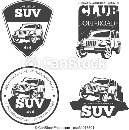 Vector Clipart Of Suv Car Vector Emblems Labels And Logos