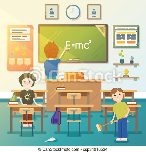 vectors of kids cleaning classroom vector illustration
