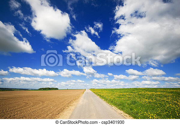 Agriculture landscape with road in the middle - csp3401930