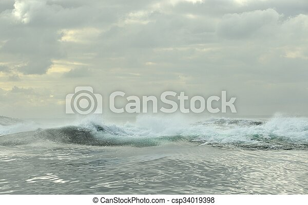 Powerful ocean waves breaking. Wave on the surface of the ocean. Wave breaks on a shallow bank. Natural background stormy weather.South Africa