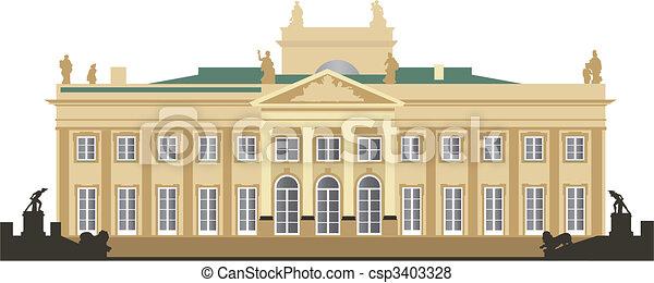 Vecteur de palais, lazienki - North, façade, de, les ...