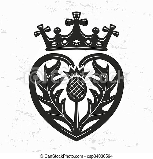 Luckenbooth brooch vector design element. Vintage Scottish heart shape with crown and thistle symbol logo concept. Valentine day or wedding illustration on grunge background. - csp34036594